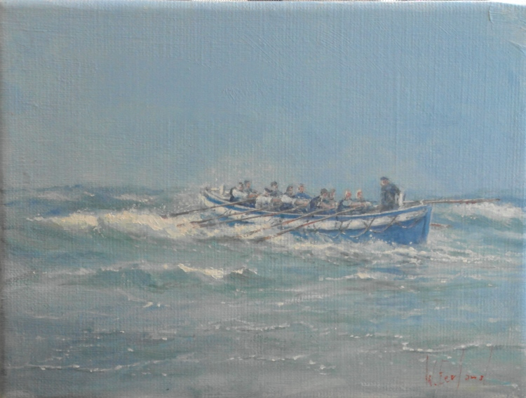 De Roeireddingboot van Terschelling. Willem Eerland, Oil on canvas 2013.
